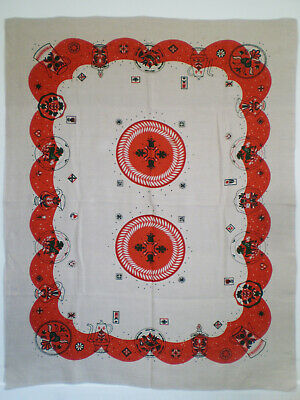 "Vintage LINEN TABLECLOTH SWEDISH Folk Art Print Horses Birds Flowers 69"" x 52"""