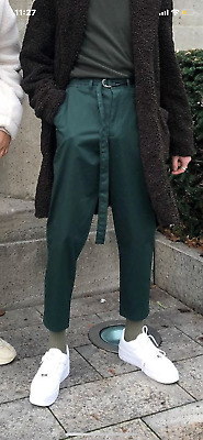 Zara Man Emerald Green Loose Fit Trousers Pants With Belt size 31