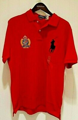 Polo Ralph Lauren Classic Fit Polo Crest & Big Pony Shirt in Red w/ Blue Pony