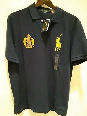 Polo Ralph Lauren Classic Fit Polo Crest & Big Pony Shirt in Blue w/ Gold Pony