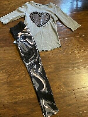 Justice Active Outfit Size 6/7 Dance, Leggings & Shirt.