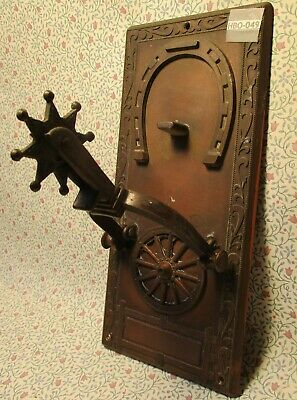 Vintage Copper Door Knocker Wagon Wheel & Spur with Stirrup Lucky Horseshoe