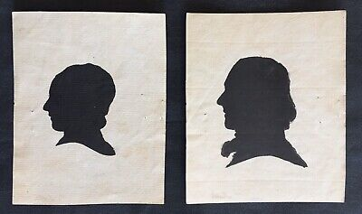 18th - 19th c Pair Of Silhouettes Smith Family Penna Laid Paper Identified