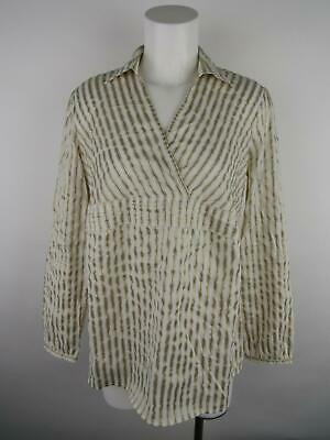 Motherhood Maternity Women's sz M White Gold Wrap Pinstripe Collared Shirt Top