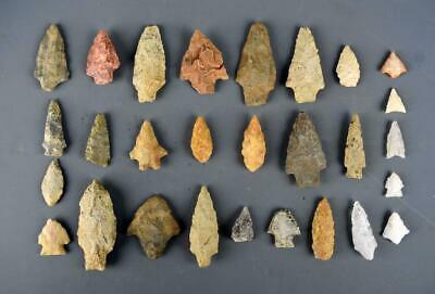 Collection of 28 Points, Arrowheads from Various Locations