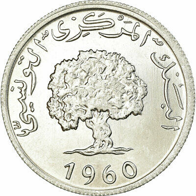 [#739080] Coin, Tunisia, 5 Millim, 1960, Paris, MS(63), Aluminum, KM:282