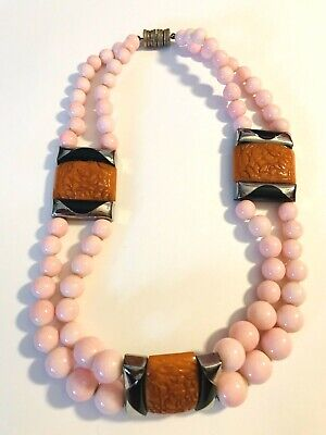 Art Deco FRENCH PINK glass beads necklace ~carved bakelite superb