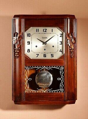 An Art Deco Westminster Vedette Carillon Fruitwood Wall Clock French circa 1935