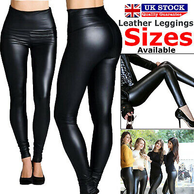 Ladies High Waist Black Faux Leather Leggings Shiny Wet Look Stretchy Pant Tight