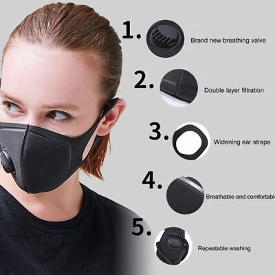PM2.5 Breathable Anti-dust Haze Flu Face Mouth Mask Filter Respirator Washable
