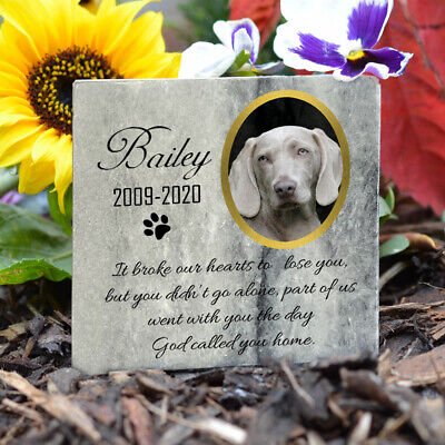 Pet Memorial Plaque Cat Dog Paw Photo Grave Marker Real Gray Marble Personalised