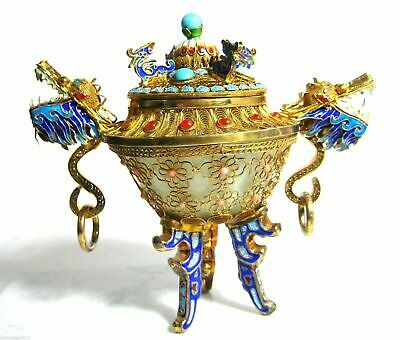 Chinese Dragon Urn Gold Gilt 925 Sterling Silver Filigree Jewels Jade Bowl