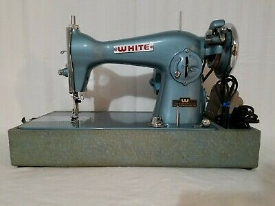 Vintage Collectors White Japan Rotary Sewing Machine E-6354 Teal Retro Turquoise
