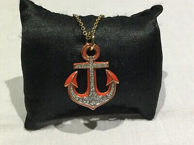 NWT Juicy Couture New & Gen. Long Chain With Diamanté Red Anchor Pendant