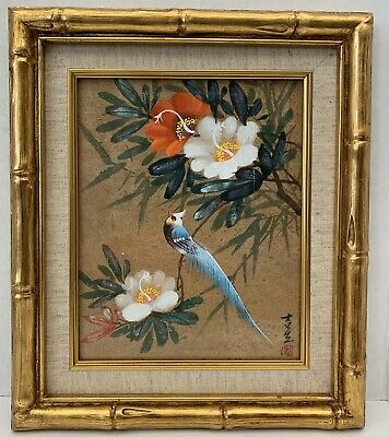 A Chinese Very Fine & Rare Old Signed Bird Hand Painting Framed