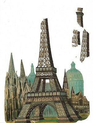 3 Genuine Vintage Victorian Die Cut Scraps Eiffel Tower Paris France See Pics