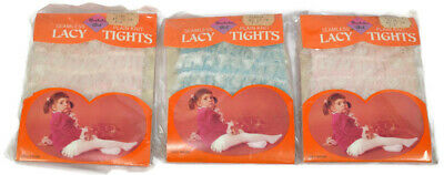 Vtg 1970's Lot of 3 Bachelor Girl Lacy Ruffle Bottom Tights, Pink/Blue Size 1-3