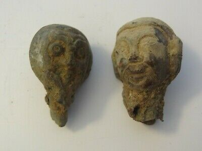 Antique Mongolian Buddhist Hand Made Copper Heads For The Skull Cup Stand