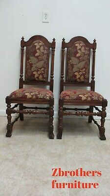2 Ethan Allen Royal Charter Oak Jacobean Dining Room Throne Side Chairs A