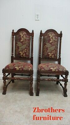 2 Ethan Allen Royal Charter Oak Jacobean Dining Room Throne Side Chairs C