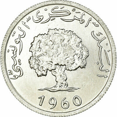 [#739079] Coin, Tunisia, 5 Millim, 1960, Paris, MS(60-62), Aluminum, KM:282