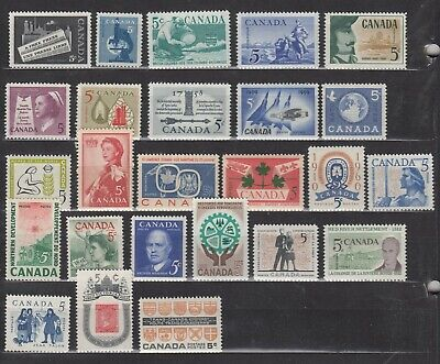 1958-1962 #375-#400 Complete Year Sets 5¢ Commemoratives F-Vfnh