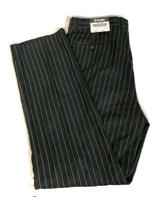 New Mens Back & White Pin Striped Stacy Adams Suit Pants 42 Waist 36 Unhemmed