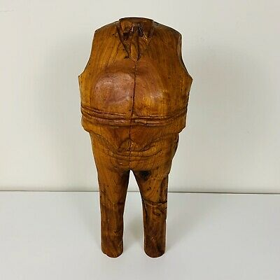 "Vintage Mid-Century Modern Hand Carved Wood Sculpture 16"" Pop Art Man in Suit"