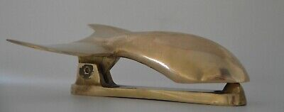 """Vintage Nautical Solid Bronze Door Knocker, Whale Shaped, 7"""" Long, Aged Patina"""