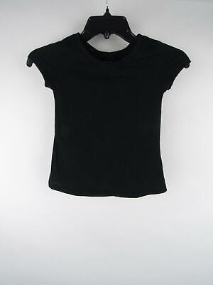 Justice Girl's sz 6 Solid Black Cotton Polyester V-Neck Short Sleeve T-Shirt Top