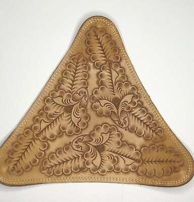 """Vintage Hand Tooled Embossed Leather Tripod Saddle Stool Cover Seat Mexican 16"""""""