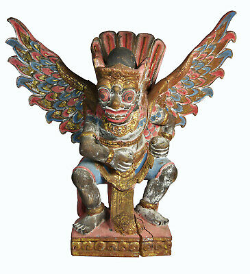 """24"""" Antique Hand Carved Painted Wood Indonesian Temple Protector Garuda"""