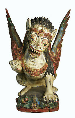"""19"""" Antique Hand Carved Painted Wood Indonesian Temple Protector Winged Lion"""