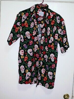 David Carey Sz M Day of the Dead Sugar Skulls Floral Camp Button Down EUC