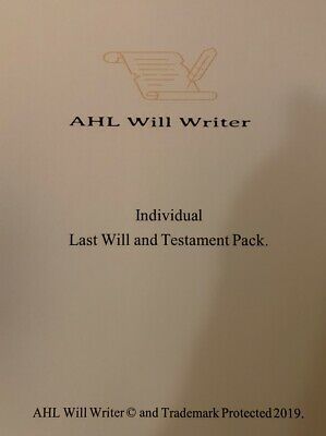 Individual Person Last Will and Testament Kit