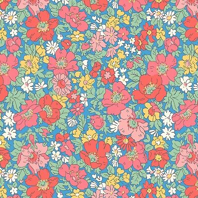 Cosmos Meadow Flower Spring Show Blue Pink Liberty Fabric FQ Metre 100% Cotton