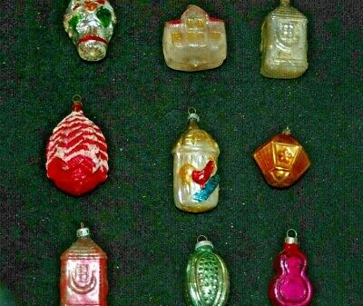 ANTIQUE Early Glass German Christmas Ornaments - 9 pieces NO  RESERVE