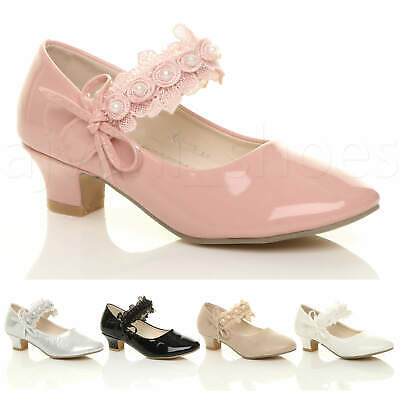 Girls Kids Childrens Low Heel Lace Strap Mary Jane Party Formal Shoes Size