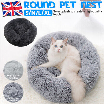 Large Comfy Calming Dog Cat Bed Pet Round Super Soft Plush Marshmallow Puppy UK