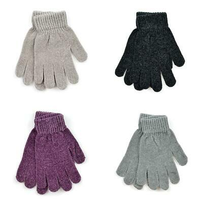 Ladies Magic Chenille Knitted Thermal Gloves Black, Grey, Pink or Mink