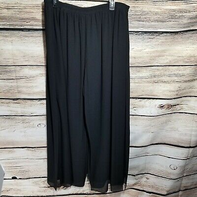 R&M Richards Woman Size 18W Solid Black Elastic Waist Dress Pants Formal Layered