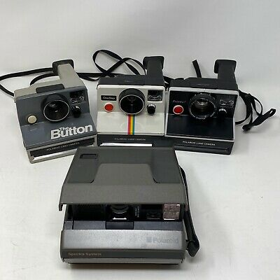 Lot of 4 Polaroid Land Camera The Button OneStep Pronto Spectra Instant Film