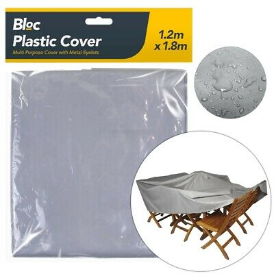 PLASTIC FURNITURE COVER Garden Table Chair BBQ Barbeque Rain Frost Snow Sheet UK