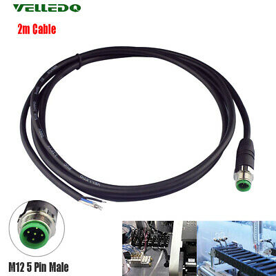 VELLEDQ Industrial Pre-Wired M12 Connector Cable 5-Pin Male PVC Cable 2m Black