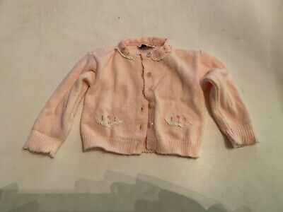 Vintage Babycrest Pink Sweater and Cap Baby Clothes Small Newborn