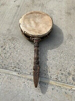 Shaman's Phurba Drum Handle in wood Carved Dhyangro As Is Rare