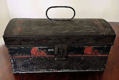 Tin Tole Toleware Document Dome Box with Handle Hand Painted Early Antique