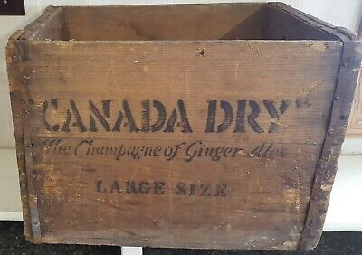 Antique/Vintage Canada Dry Large Size Wood Soda Crate Box W/Metal Bands