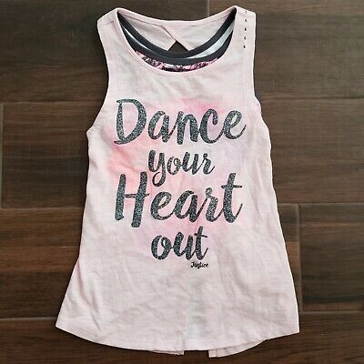 """Justice Girls Pink Active Top & Sports Bra Set """"Dance Your Heart Out"""" Size 6"""