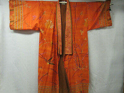 Granfoulard Basseti Asian Orange Print Cotton Kimono Robe